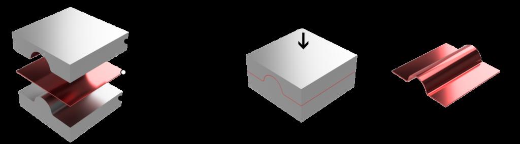 金型を使ったプレスの模式図/株式会社エヌテック